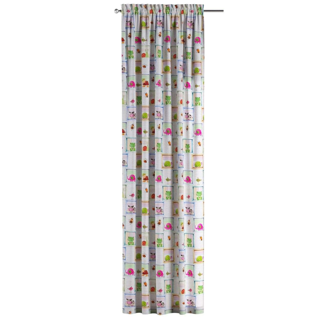 Gardin med kanal och rynkband för fingerkrokar - 1 längd i kollektionen Little World, Tyg: 151-04