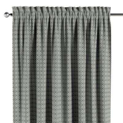 Gardin med kanal och rynkband för fingerkrokar - 1 längd i kollektionen Black & White, Tyg: 142-76
