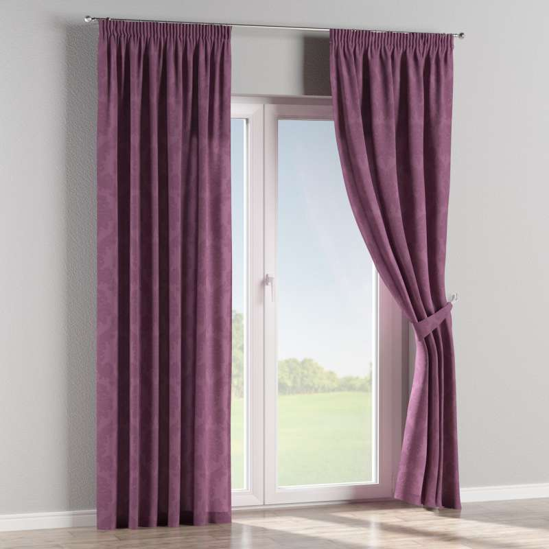 Pencil pleat curtains in collection Damasco, fabric: 613-75
