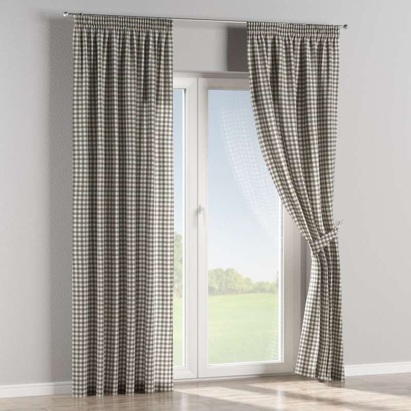 Pencil pleat curtains in collection Quadro, fabric: 136-11