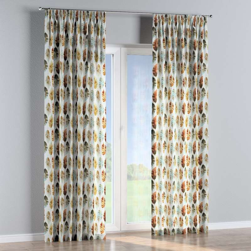 Pencil pleat curtains in collection Tropical Island, fabric: 141-43