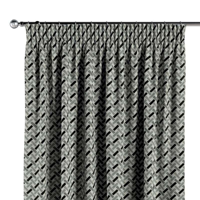 Vorhang mit Kräuselband von der Kollektion Black & White, Stoff: 142-78