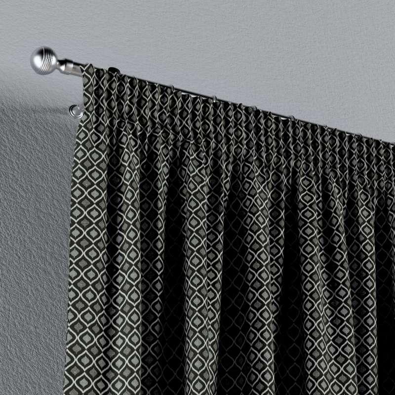 Függöny ráncolóval a kollekcióból Black & White szövet, Dekoranyag: 142-86