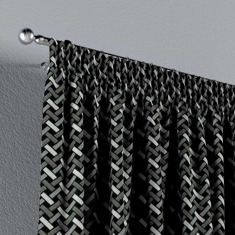 Függöny ráncolóval a kollekcióból Black & White szövet, Dekoranyag: 142-87