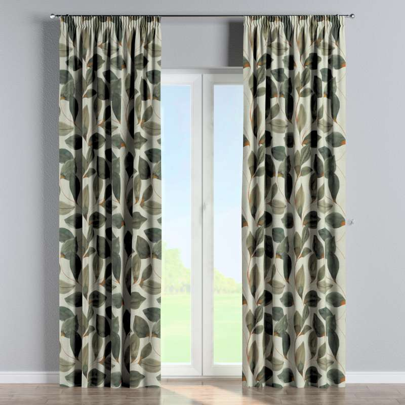 Pencil pleat curtains in collection Abigail, fabric: 143-17