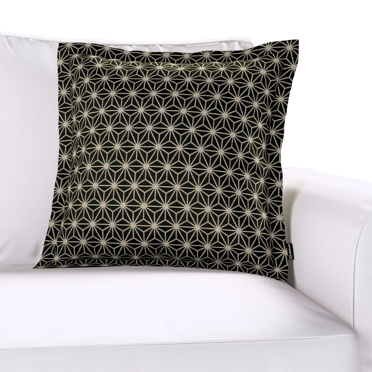 Mona - potah na polštář hladký lem po obvodu v kolekci Black & White, látka: 142-56