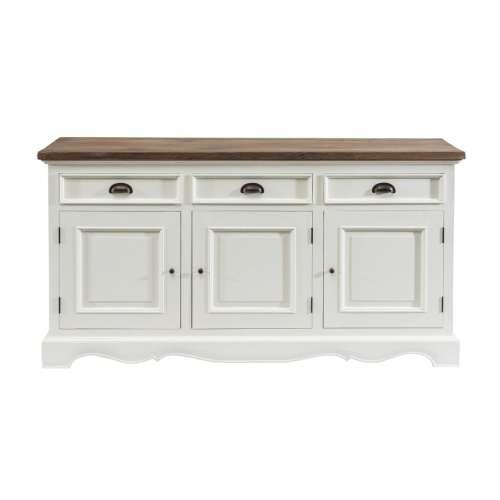 Dekoria Komoda Brighton 3 drzwi + 3 szuflady white&natural