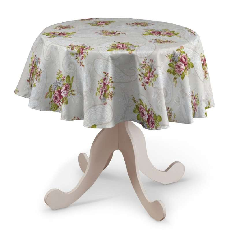 Runde Tischdecke von der Kollektion Flowers, Stoff: 311-15