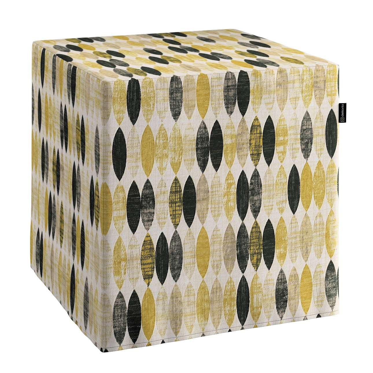 Bezug für Sitzwürfel, schwarz-beige-gelb, Bezug für Sitzwürfel 40 × 40 × 40 günstig online kaufen