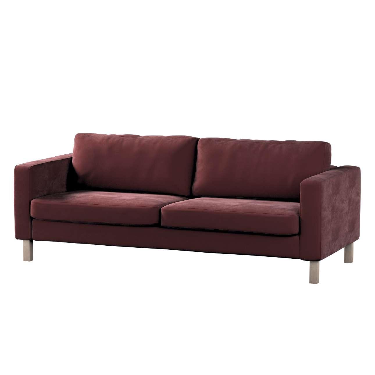 Pokrowiec na sofę Karlstad 3-osobową nierozkładaną, krótki w kolekcji Velvet, tkanina: 704-26