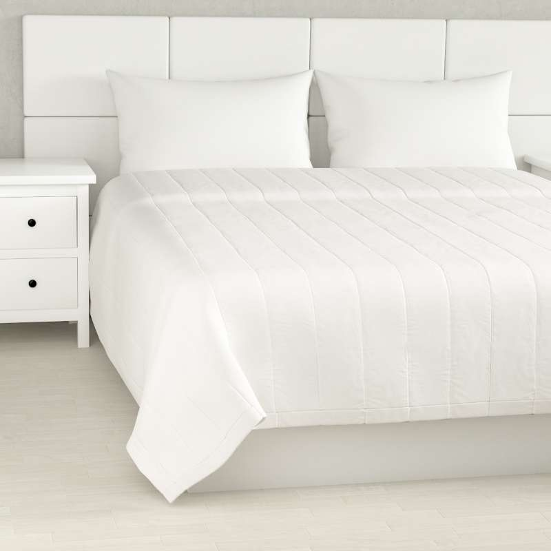 Sengetæppe quiltet<br/>10cm striber fra kollektionen Cotton Panama, Stof: 702-34