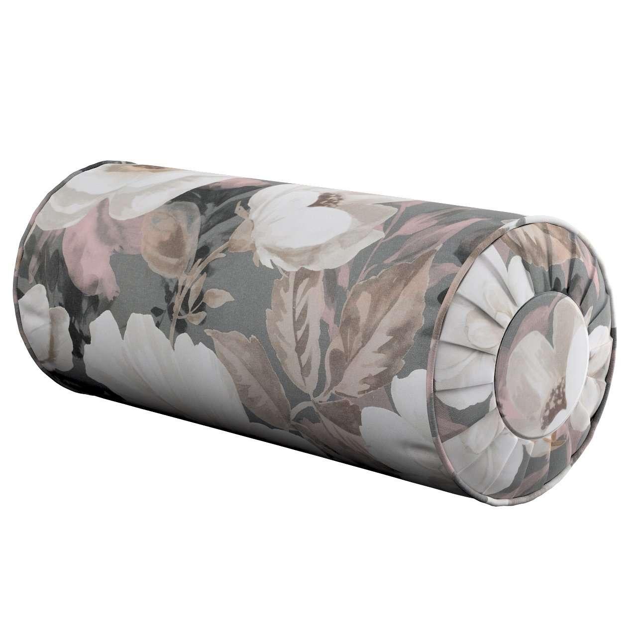 Nackenrolle mit Falten, grau-rosa, Ø 20 × 50 cm, Gardenia | Schlafzimmer > Kopfkissen | Dekoria