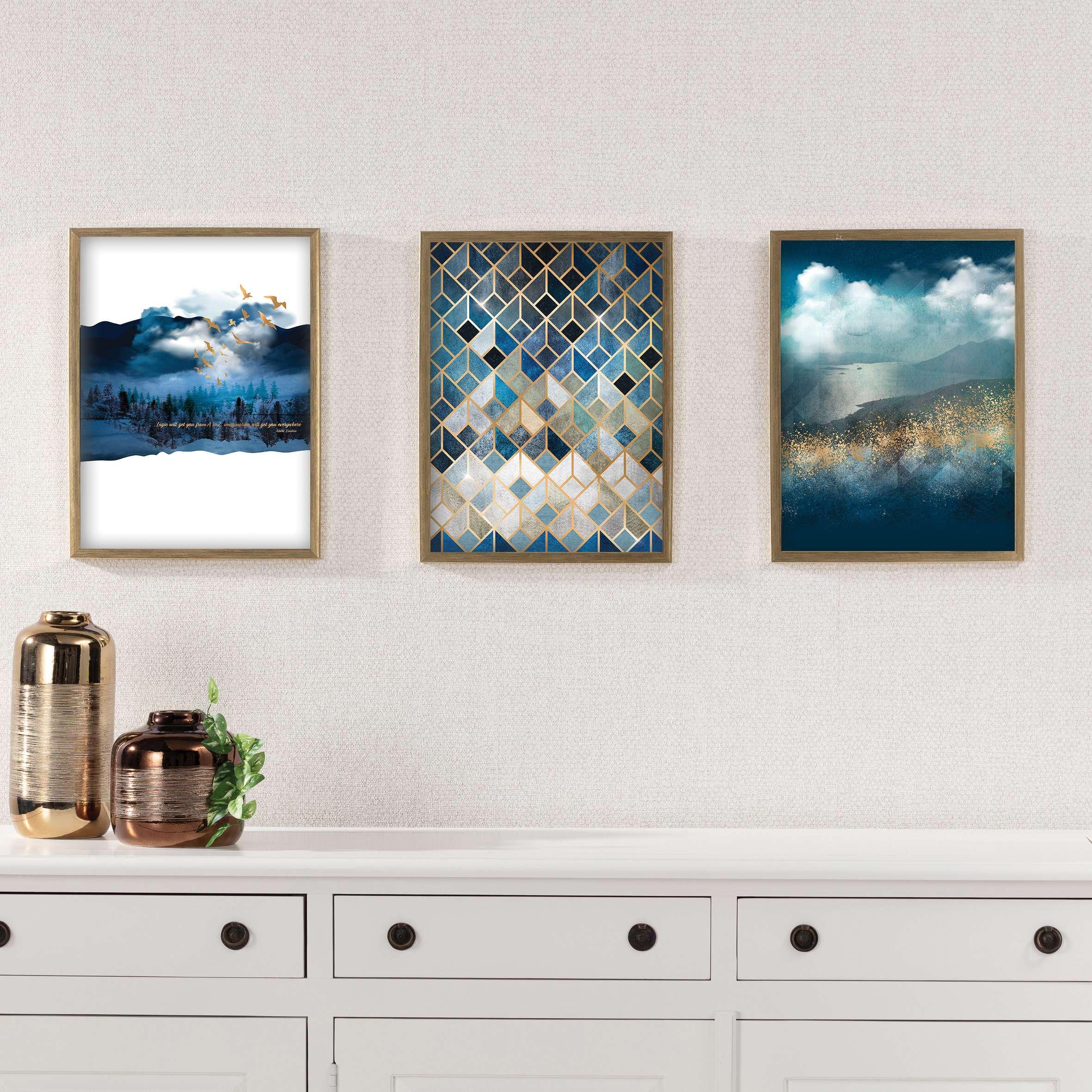 Wandbild Impression 30x40cm gold&navy