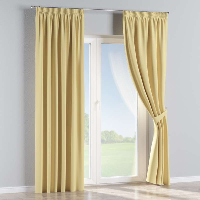 Blackout pencil pleat curtains in collection Blackout, fabric: 269-12