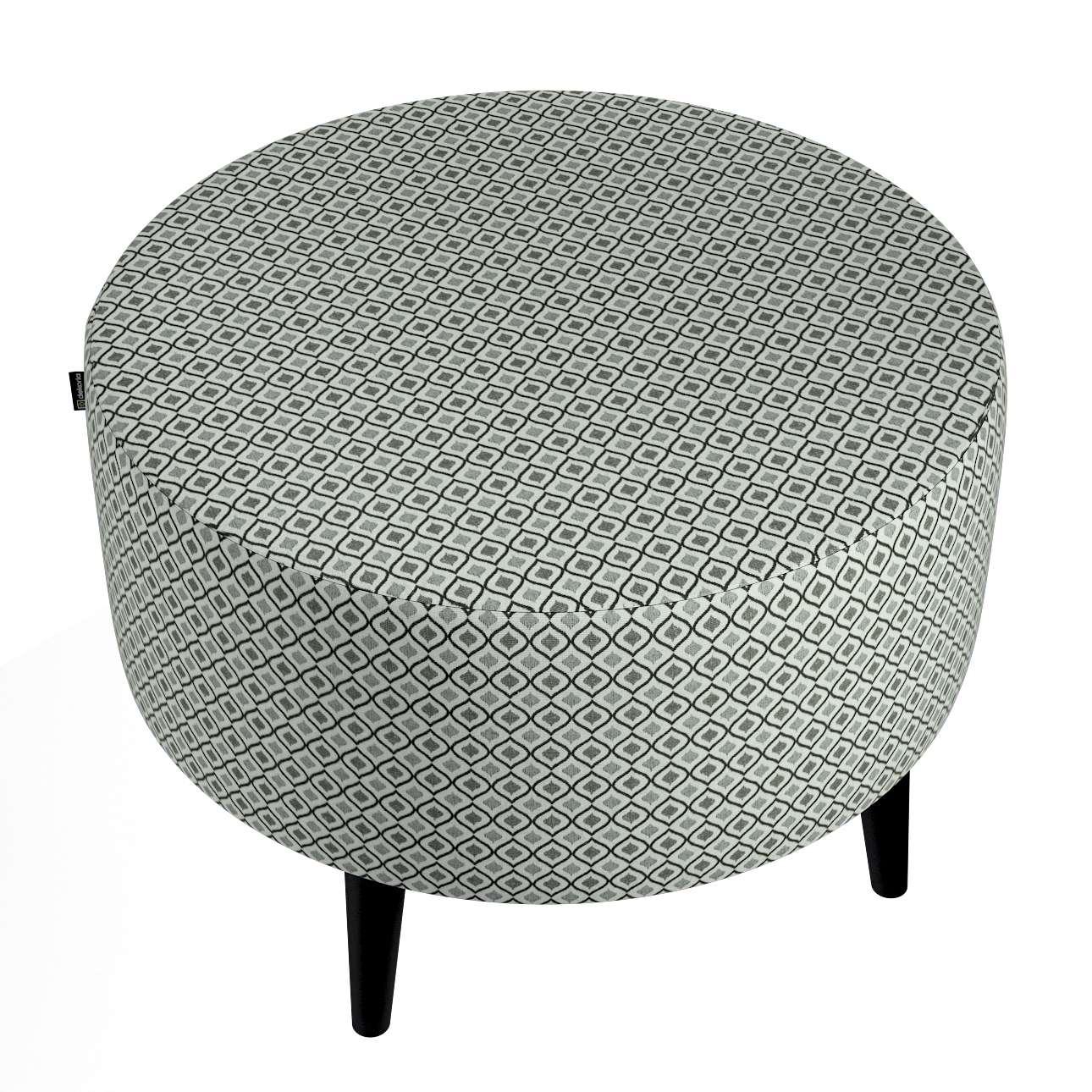 Podnóżek okrągły I w kolekcji Black & White, tkanina: 142-76