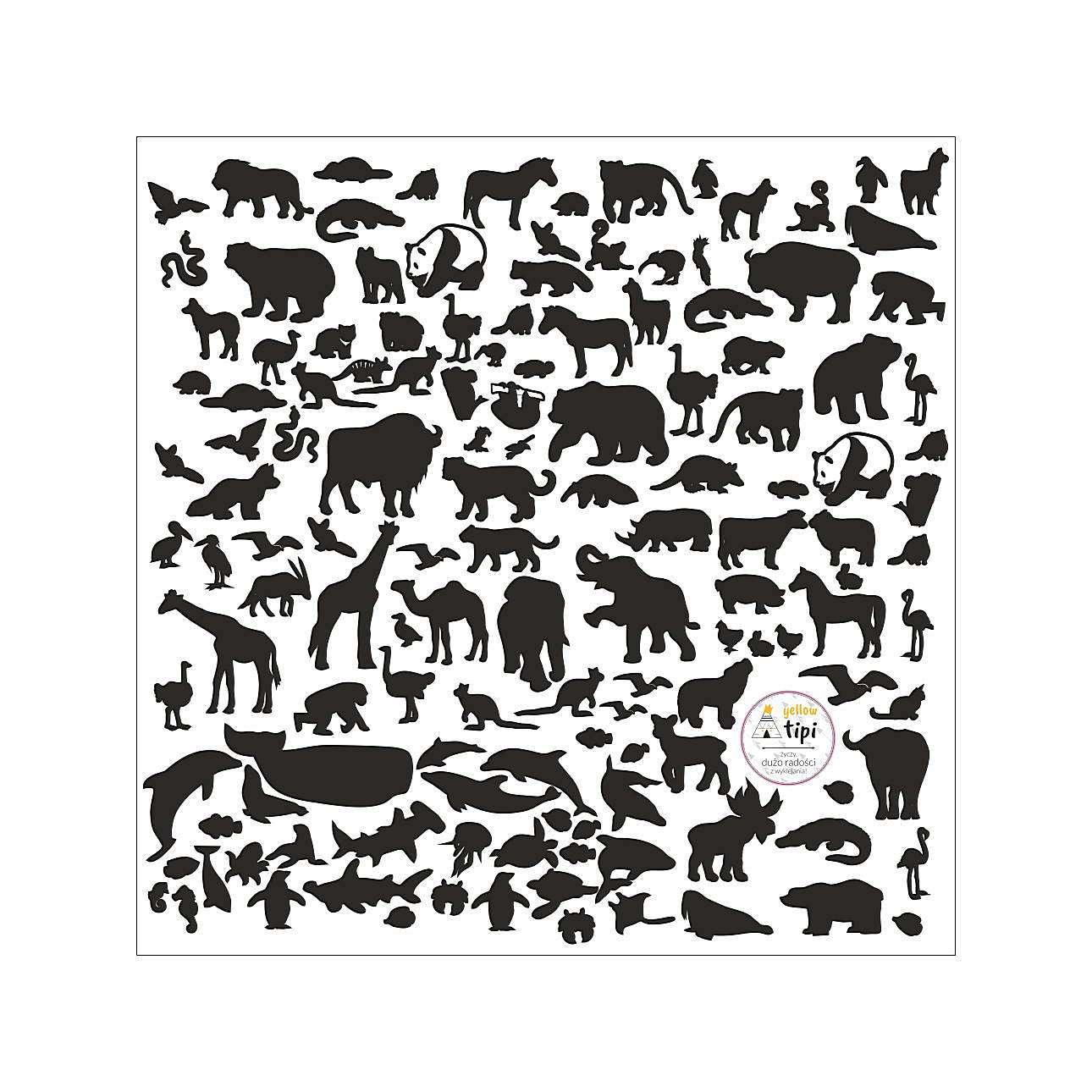 Naklejki World Animals Black