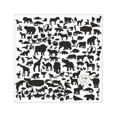 Aufkleber World Animals Black