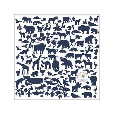 Naklejki naklejek World Animals Blue