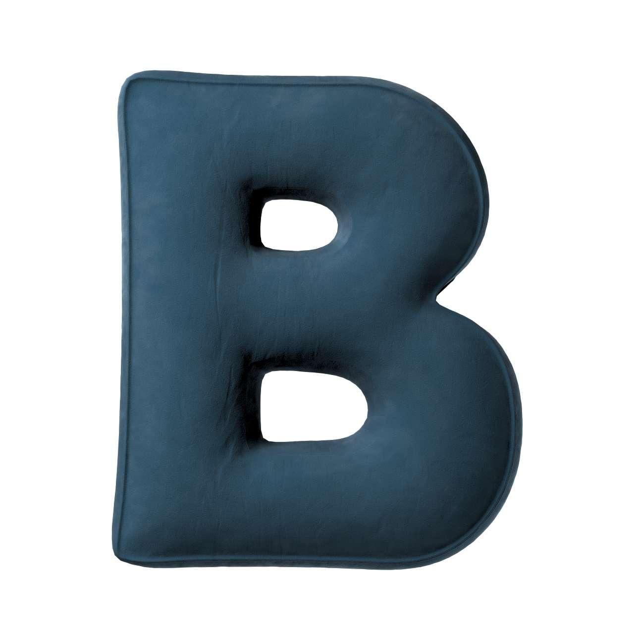 Buchstabenkissen B von der Kollektion Posh Velvet, Stoff: 704-16