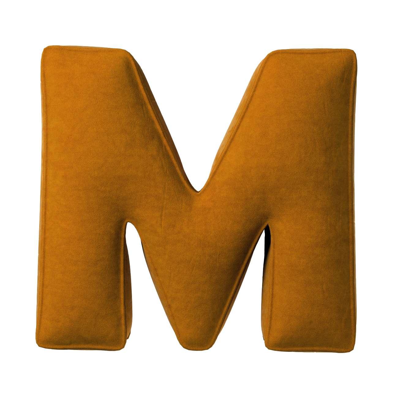 Buchstabenkissen M von der Kollektion Posh Velvet, Stoff: 704-23