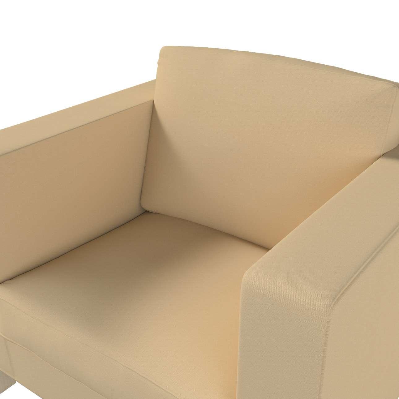 Pokrowiec na fotel Karlanda, krótki w kolekcji Cotton Panama, tkanina: 702-01