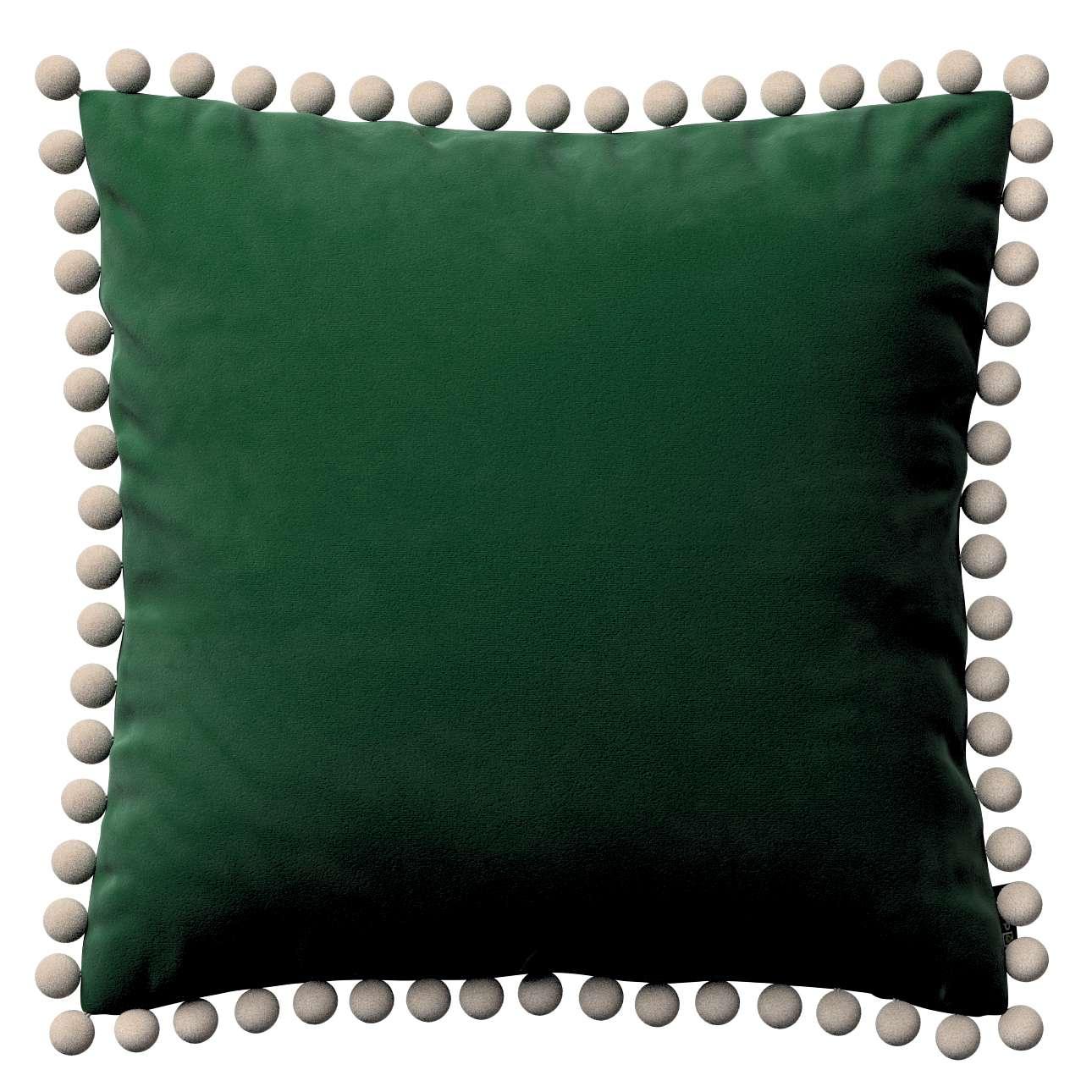 Věra - potah na polštář ozdobné bambulky po obvodu v kolekci Velvet, látka: 704-13