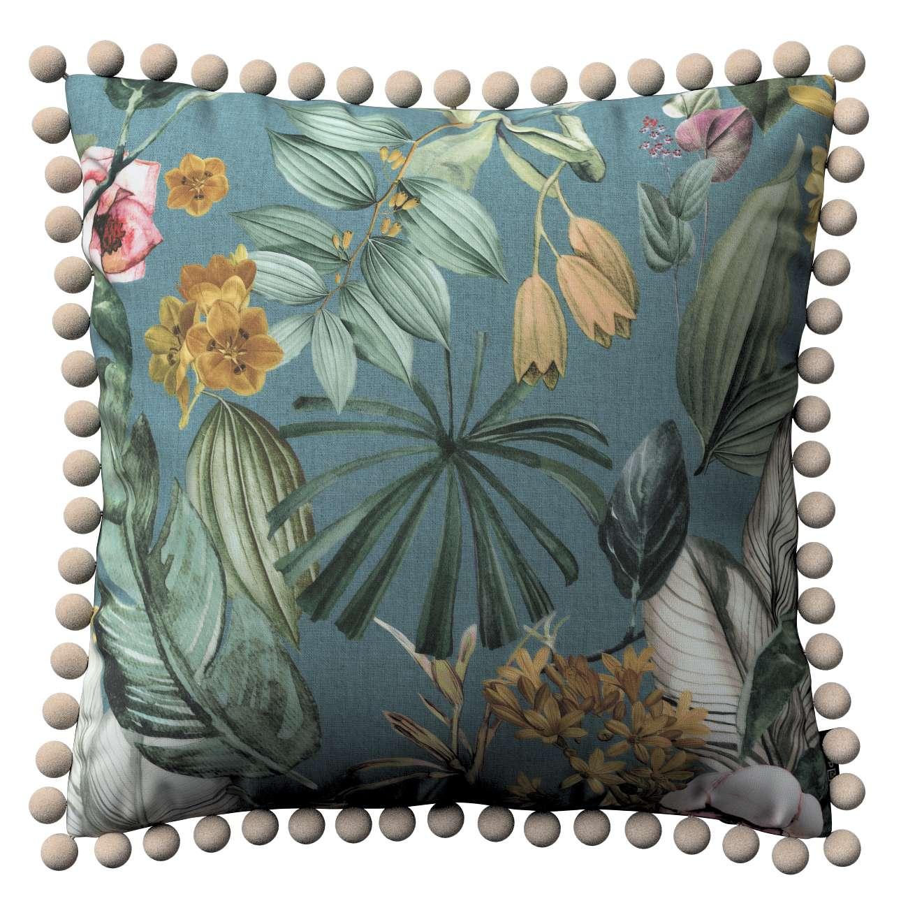 Věra - potah na polštář ozdobné bambulky po obvodu v kolekci Abigail, látka: 143-24