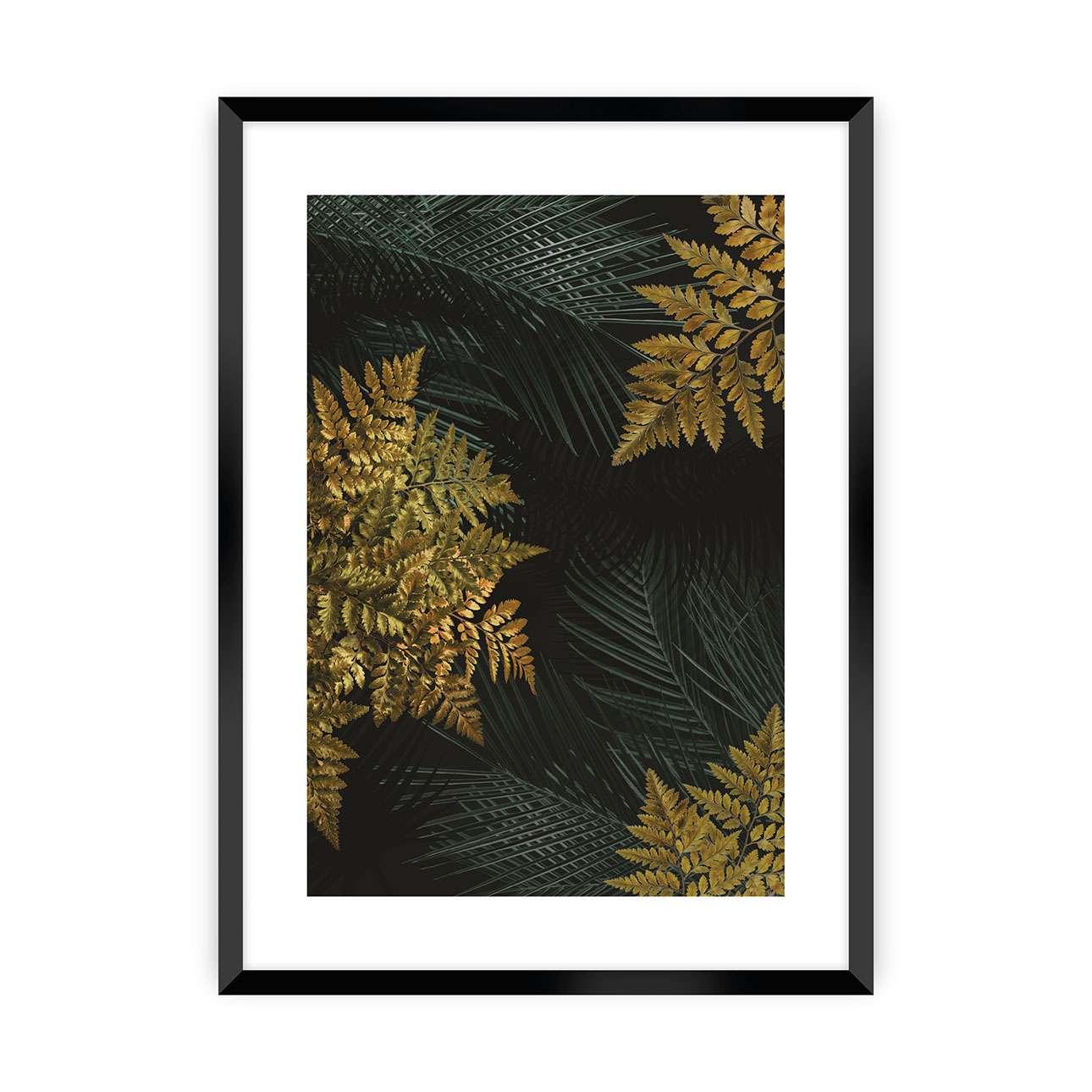 Poster Golden Leaves II, 70 x 100 cm, Ramka: Czarna günstig online kaufen