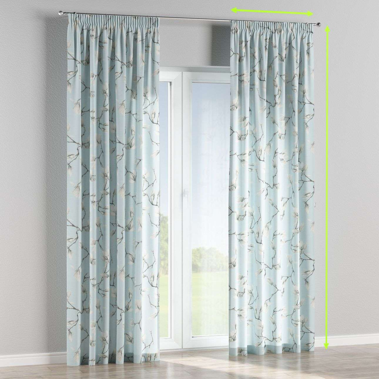 Pencil pleat curtains in collection Flowers, fabric: 311-14