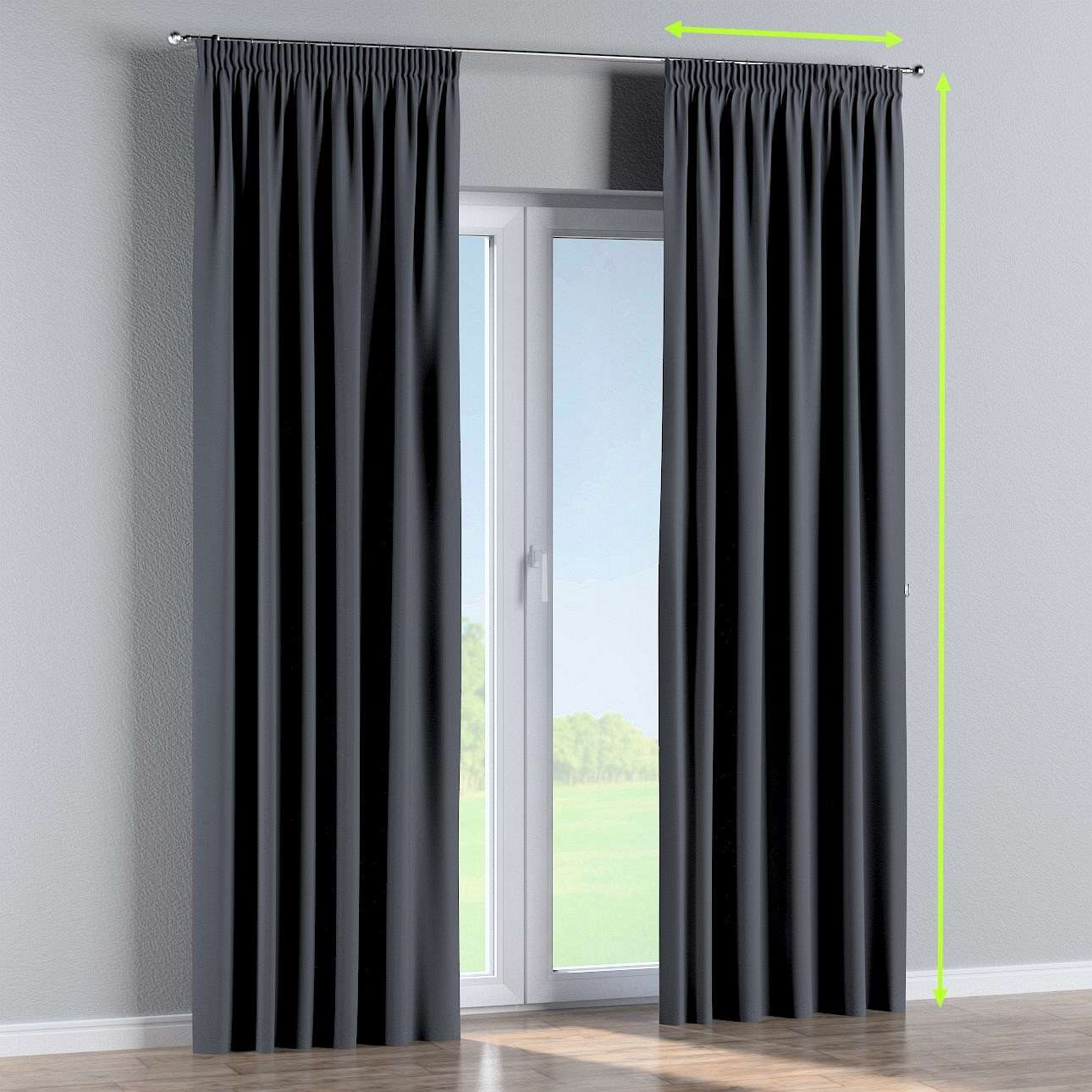 Pencil pleat curtains in collection Blackout, fabric: 269-76