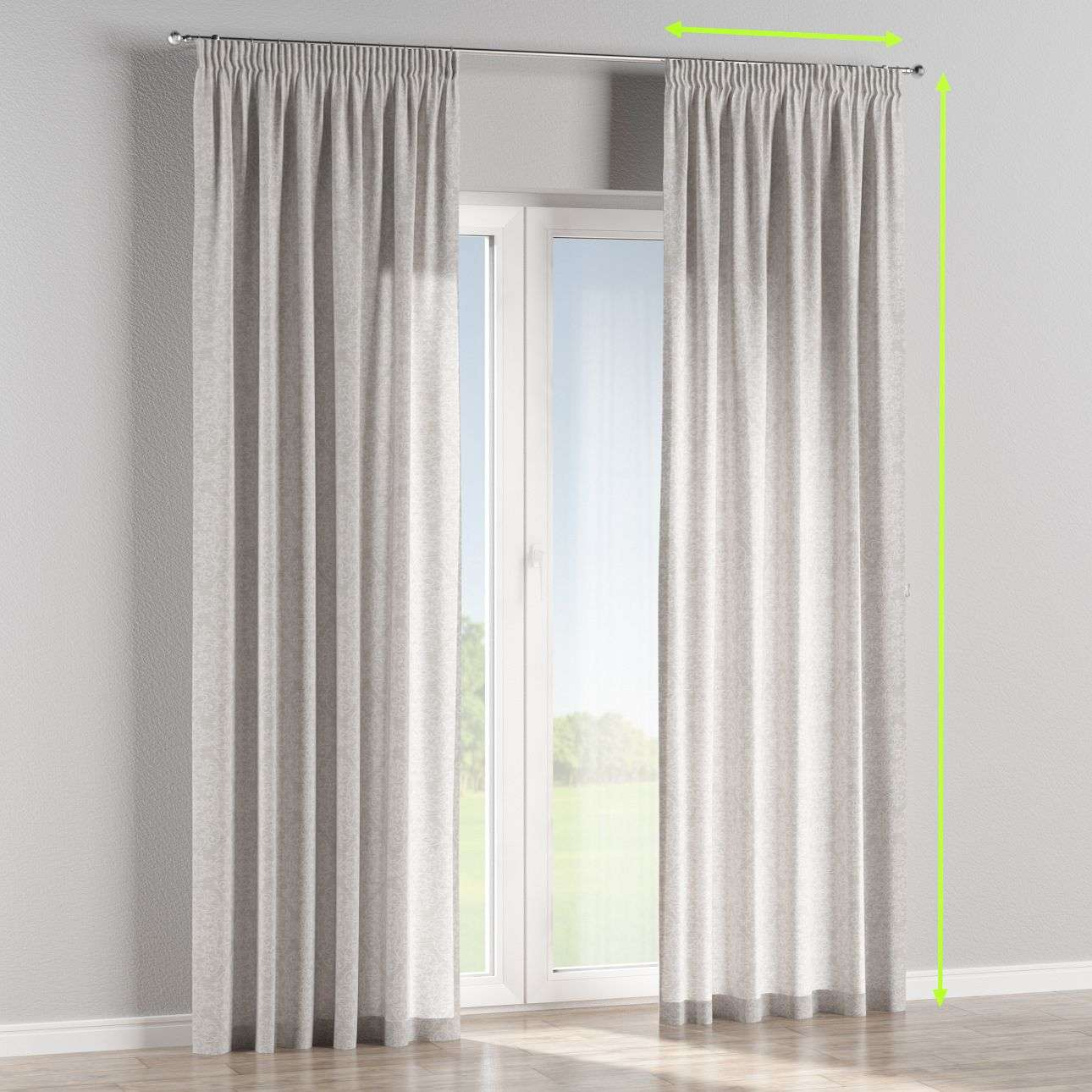 Pencil pleat curtains in collection Venice, fabric: 140-49