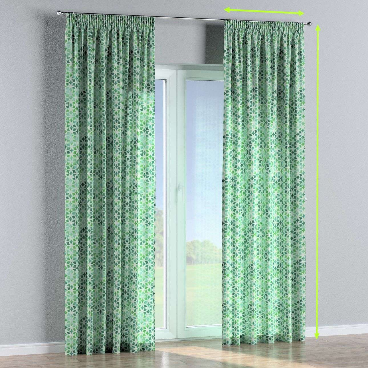 Pencil pleat curtains in collection Tropical Island, fabric: 141-65