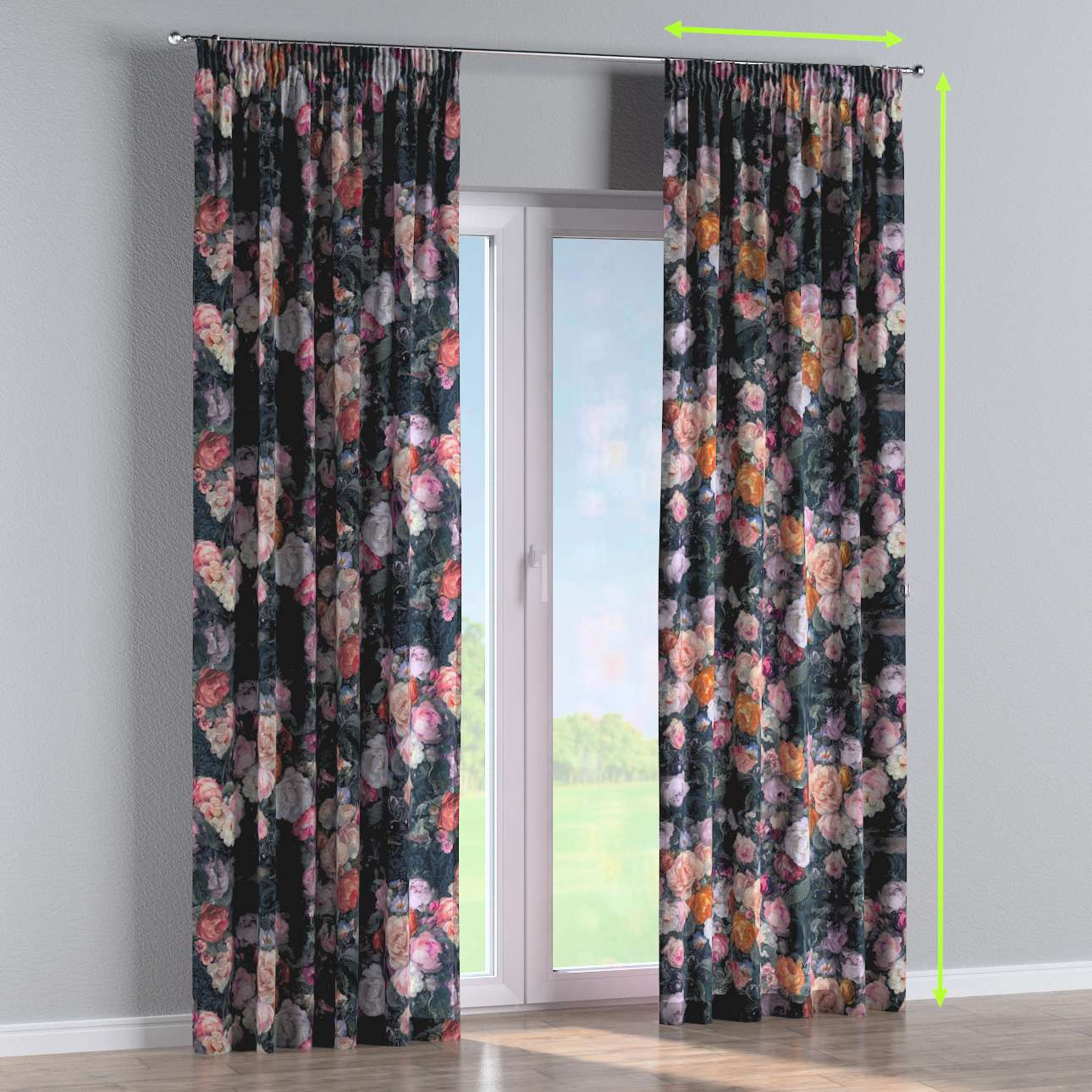 Pencil pleat curtains in collection Gardenia, fabric: 161-02