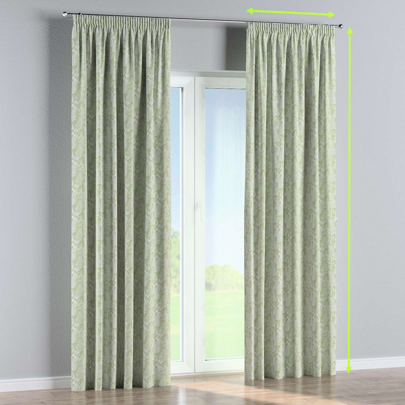 Pencil pleat curtains in collection Pastel Forest, fabric: 142-49
