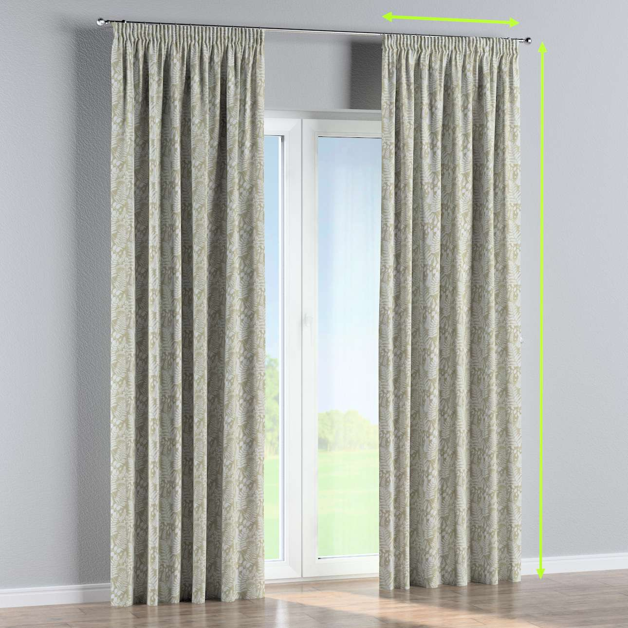 Pencil pleat curtains in collection Pastel Forest, fabric: 142-50