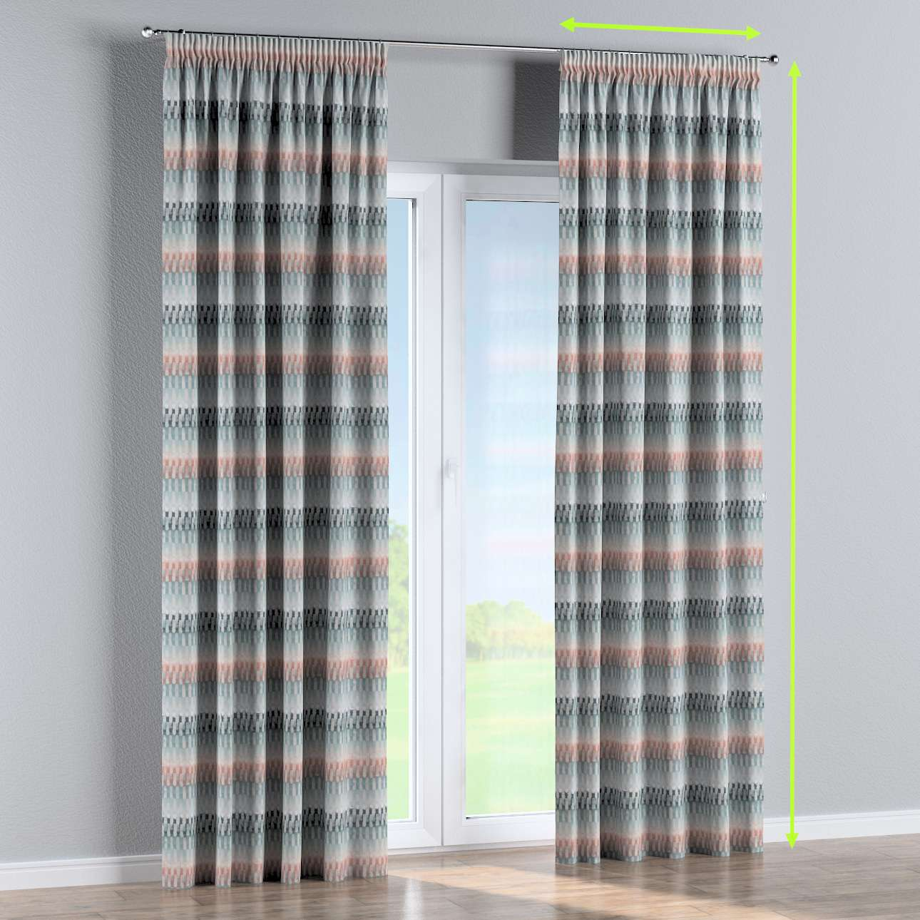 Pencil pleat curtains in collection Pastel Forest, fabric: 142-51