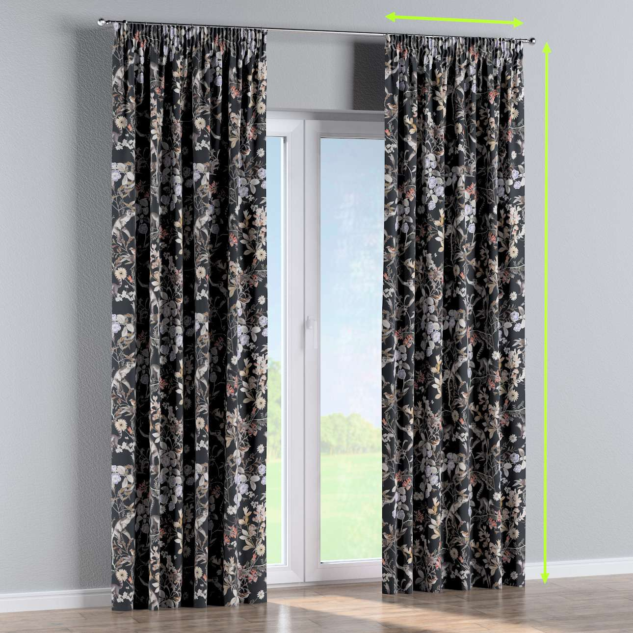 Pencil pleat curtains in collection Tropical Island, fabric: 142-60