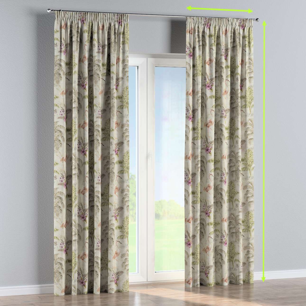 Pencil pleat curtains in collection Tropical Island, fabric: 142-61