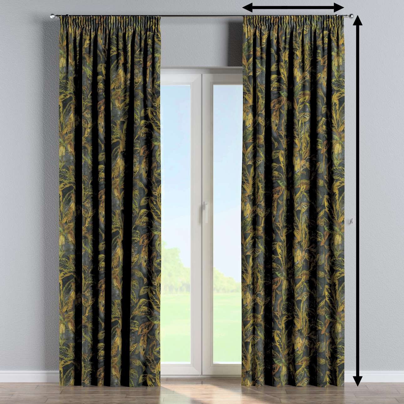 Pencil pleat curtains in collection Abigail, fabric: 143-01