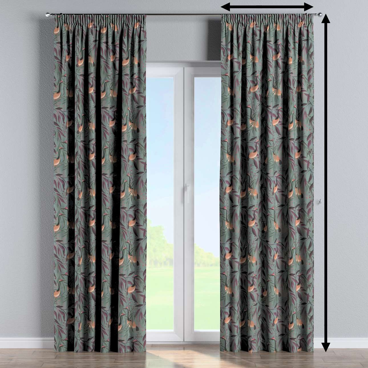 Pencil pleat curtains in collection Abigail, fabric: 143-11