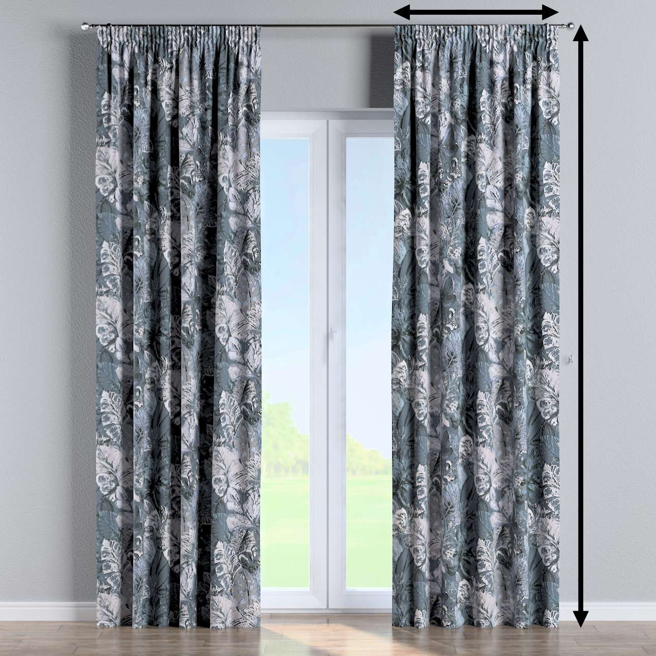 Pencil pleat curtains in collection Abigail, fabric: 143-18