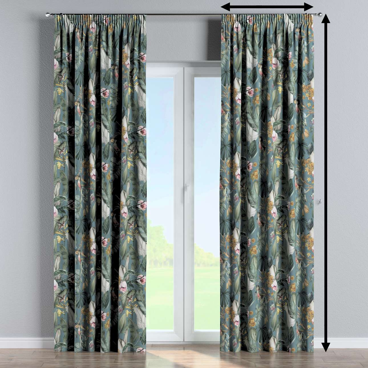 Pencil pleat curtains in collection Abigail, fabric: 143-24