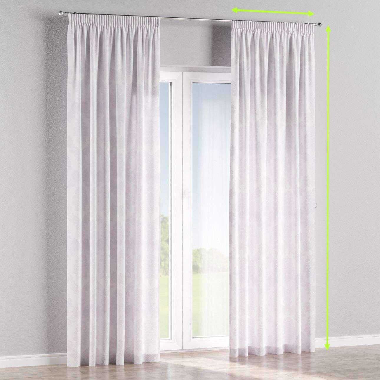 Pencil pleat curtains in collection Damasco, fabric: 613-00