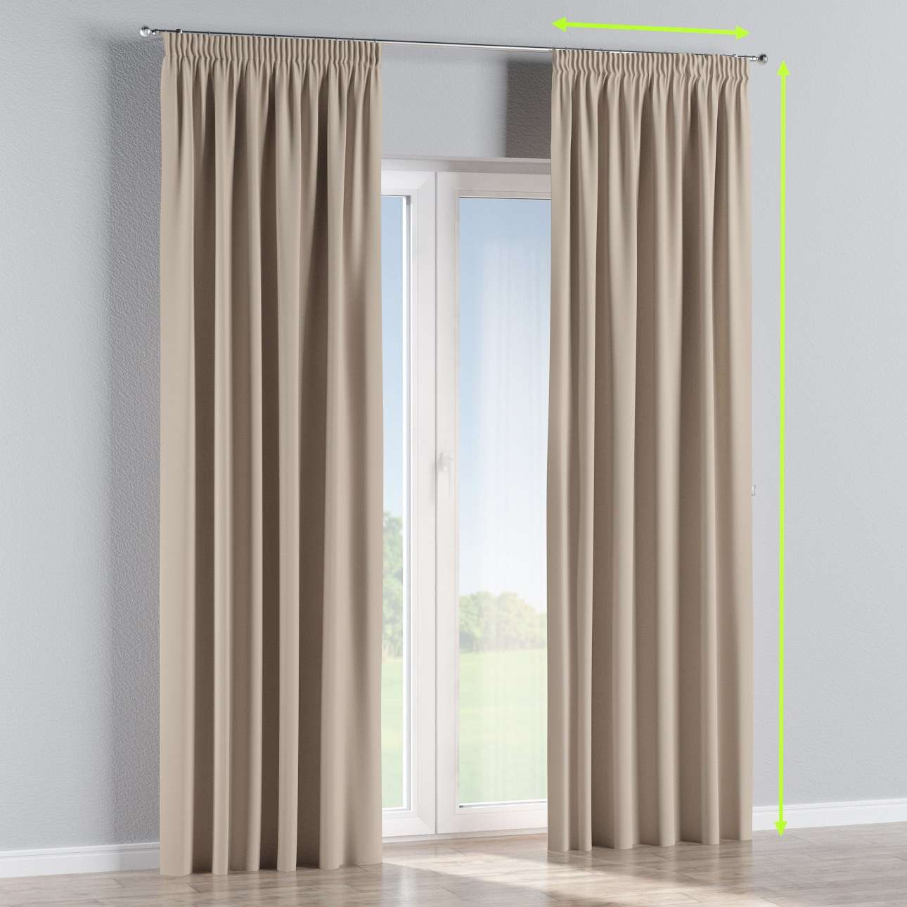 Pencil pleat curtains in collection Blackout, fabric: 269-00