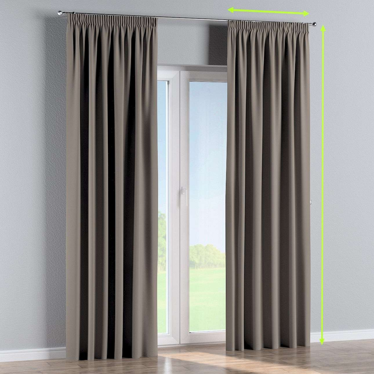 Pencil pleat curtains in collection Blackout, fabric: 269-81