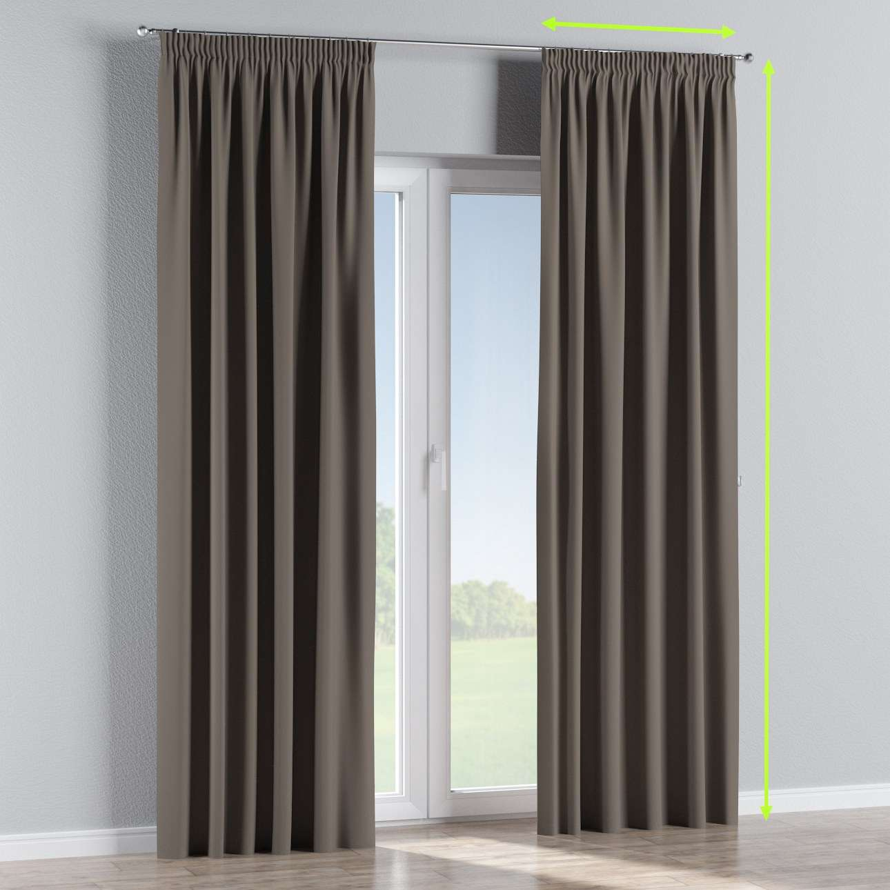 Pencil pleat curtains in collection Blackout, fabric: 269-80