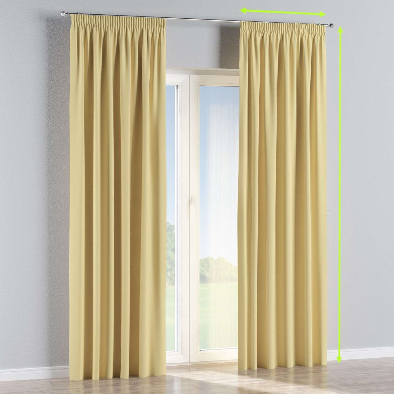 Pencil pleat curtains in collection Blackout, fabric: 269-12