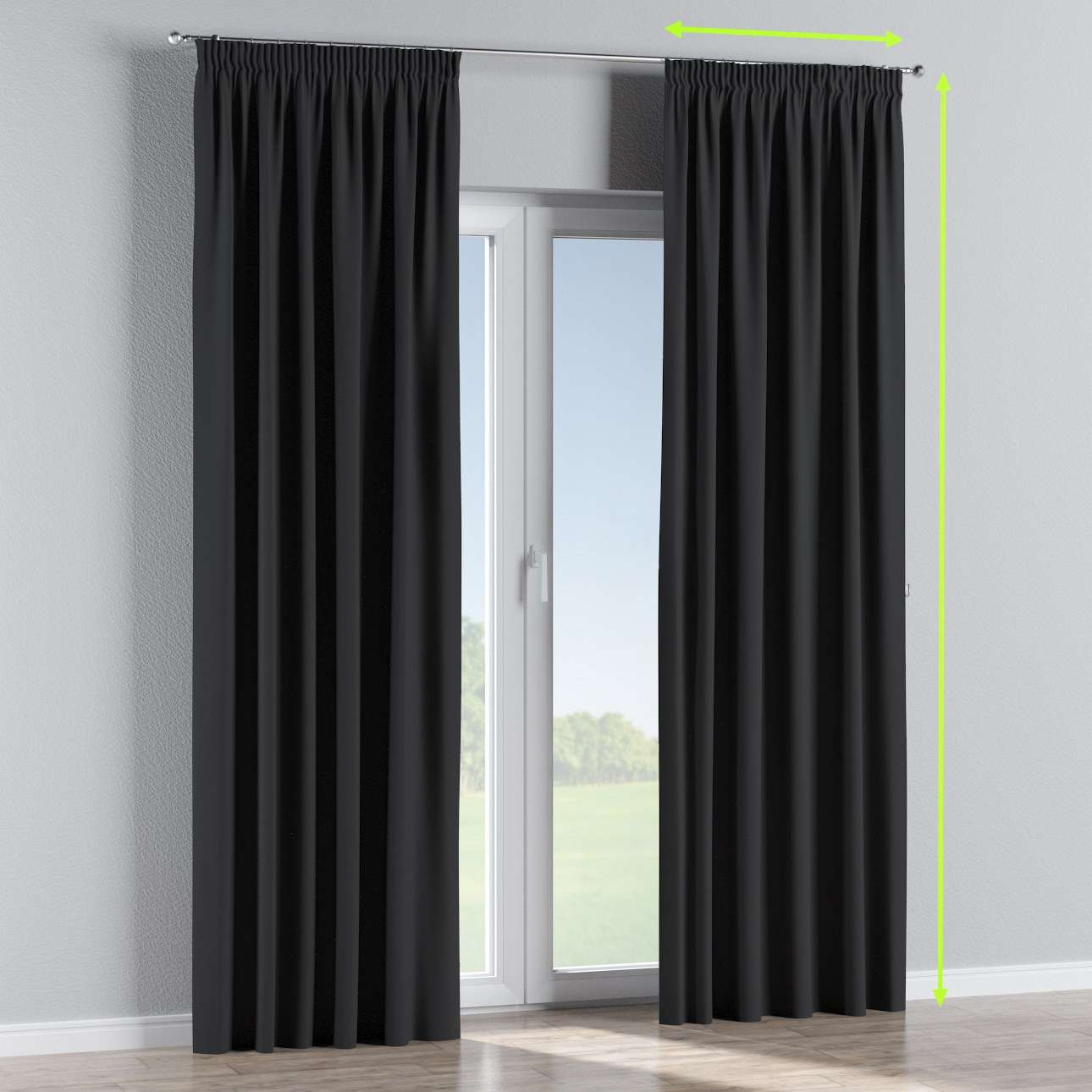 Blackout pencil pleat curtains in collection Blackout, fabric: 269-99