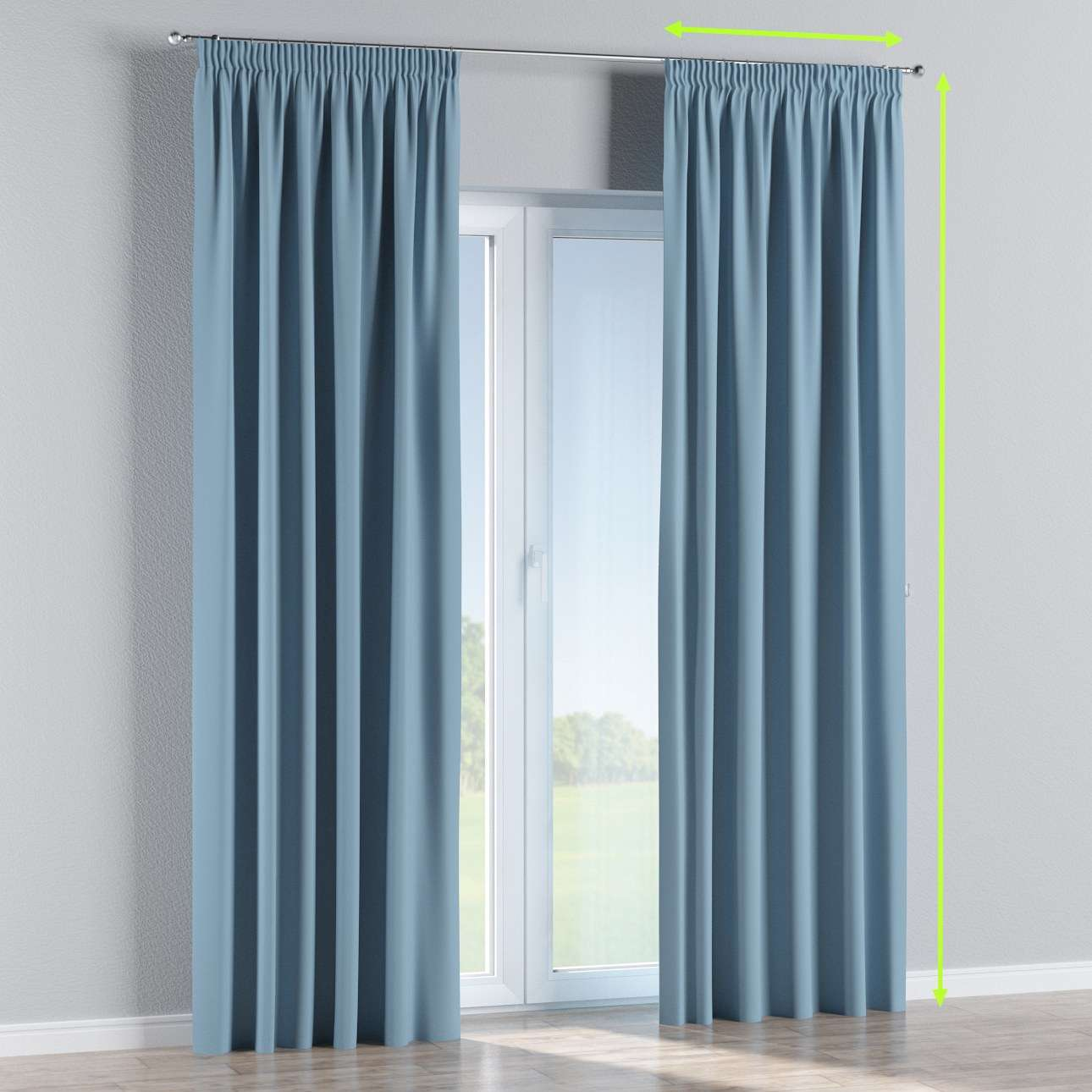 Blackout pencil pleat curtains in collection Blackout, fabric: 269-08
