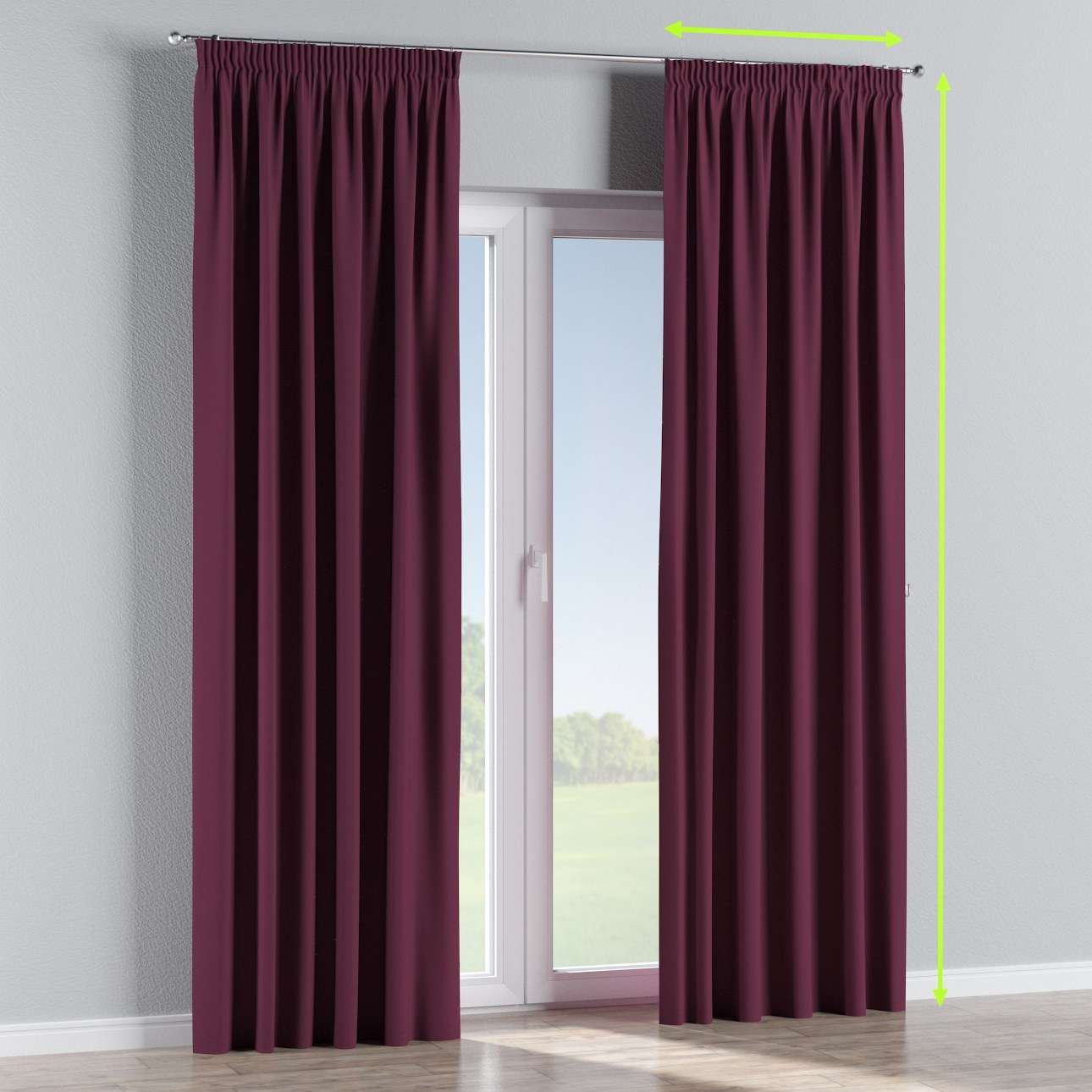 Blackout pencil pleat curtains in collection Blackout, fabric: 269-53